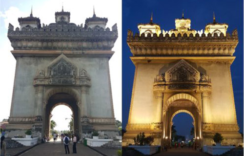 Patuxay monument in the day & night